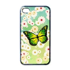 Green Butterfly Apple Iphone 4 Case (black) by linceazul