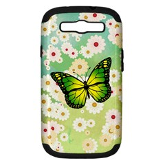 Green Butterfly Samsung Galaxy S Iii Hardshell Case (pc+silicone) by linceazul