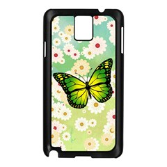 Green Butterfly Samsung Galaxy Note 3 N9005 Case (black) by linceazul