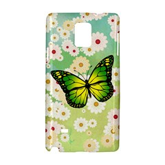 Green Butterfly Samsung Galaxy Note 4 Hardshell Case by linceazul