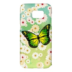 Green Butterfly Samsung Galaxy S7 Edge Hardshell Case by linceazul