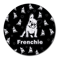 Frenchie Round Mousepads by Valentinaart