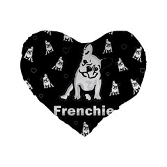 Frenchie Standard 16  Premium Flano Heart Shape Cushions