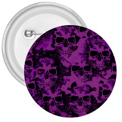 Cloudy Skulls Black Purple 3  Buttons by MoreColorsinLife