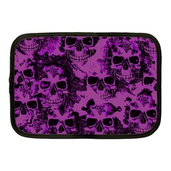 Cloudy Skulls Black Purple Netbook Case (medium)  by MoreColorsinLife