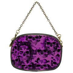 Cloudy Skulls Black Purple Chain Purses (two Sides)  by MoreColorsinLife