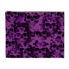 Cloudy Skulls Black Purple Cosmetic Bag (xl) by MoreColorsinLife