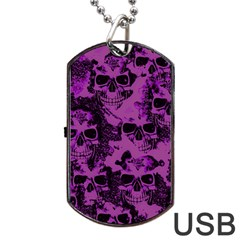 Cloudy Skulls Black Purple Dog Tag Usb Flash (one Side) by MoreColorsinLife