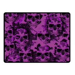 Cloudy Skulls Black Purple Double Sided Fleece Blanket (small)  by MoreColorsinLife
