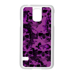 Cloudy Skulls Black Purple Samsung Galaxy S5 Case (white) by MoreColorsinLife
