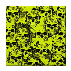 Cloudy Skulls Black Yellow Tile Coasters by MoreColorsinLife