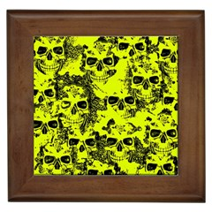 Cloudy Skulls Black Yellow Framed Tiles by MoreColorsinLife