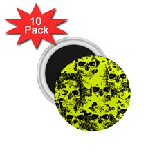 Cloudy Skulls Black Yellow 1 75  Magnets (10 Pack)  by MoreColorsinLife