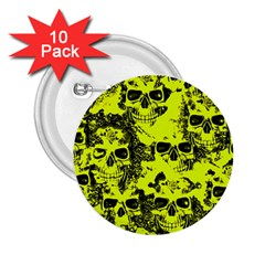 Cloudy Skulls Black Yellow 2 25  Buttons (10 Pack)  by MoreColorsinLife