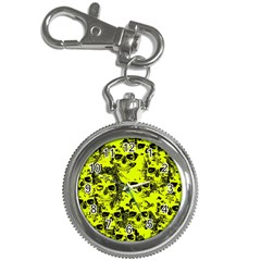 Cloudy Skulls Black Yellow Key Chain Watches by MoreColorsinLife