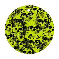 Cloudy Skulls Black Yellow Round Ornament (two Sides) by MoreColorsinLife