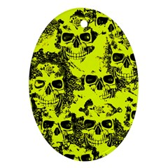 Cloudy Skulls Black Yellow Oval Ornament (two Sides) by MoreColorsinLife