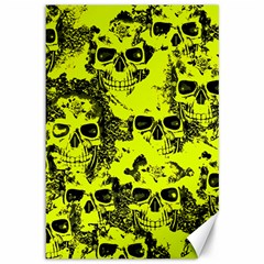 Cloudy Skulls Black Yellow Canvas 12  X 18   by MoreColorsinLife