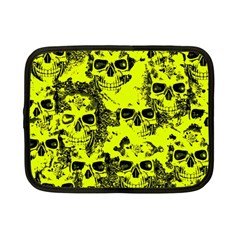 Cloudy Skulls Black Yellow Netbook Case (small)  by MoreColorsinLife
