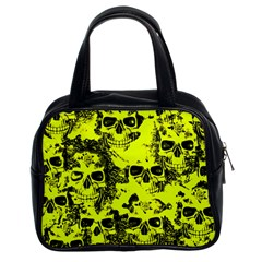 Cloudy Skulls Black Yellow Classic Handbags (2 Sides) by MoreColorsinLife