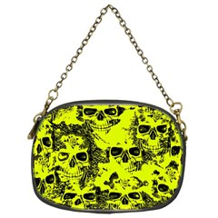 Cloudy Skulls Black Yellow Chain Purses (one Side)  by MoreColorsinLife