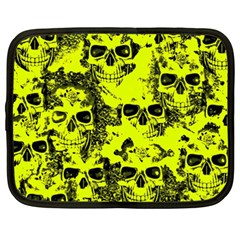 Cloudy Skulls Black Yellow Netbook Case (xxl)  by MoreColorsinLife