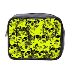 Cloudy Skulls Black Yellow Mini Toiletries Bag 2 Side by MoreColorsinLife