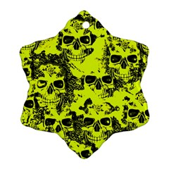Cloudy Skulls Black Yellow Ornament (snowflake) by MoreColorsinLife