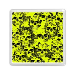 Cloudy Skulls Black Yellow Memory Card Reader (square)  by MoreColorsinLife
