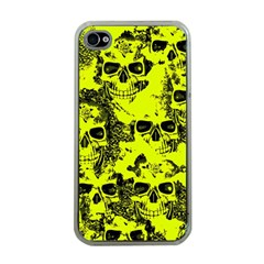 Cloudy Skulls Black Yellow Apple Iphone 4 Case (clear) by MoreColorsinLife