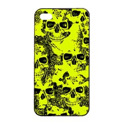 Cloudy Skulls Black Yellow Apple Iphone 4/4s Seamless Case (black) by MoreColorsinLife