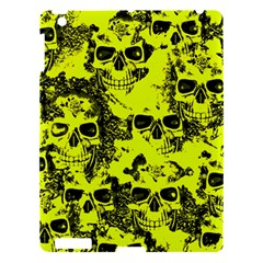 Cloudy Skulls Black Yellow Apple Ipad 3/4 Hardshell Case by MoreColorsinLife