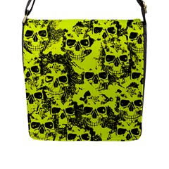 Cloudy Skulls Black Yellow Flap Messenger Bag (l)  by MoreColorsinLife