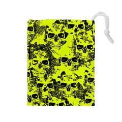 Cloudy Skulls Black Yellow Drawstring Pouches (large)  by MoreColorsinLife