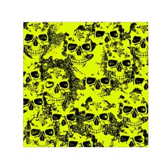 Cloudy Skulls Black Yellow Small Satin Scarf (square) by MoreColorsinLife