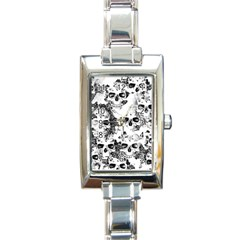 Cloudy Skulls B&w Rectangle Italian Charm Watch by MoreColorsinLife