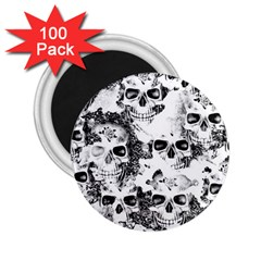 Cloudy Skulls B&w 2 25  Magnets (100 Pack)  by MoreColorsinLife