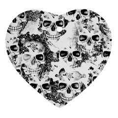 Cloudy Skulls B&w Heart Ornament (two Sides) by MoreColorsinLife