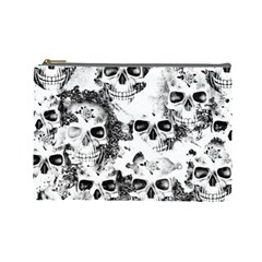 Cloudy Skulls B&w Cosmetic Bag (large)  by MoreColorsinLife