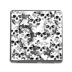 Cloudy Skulls B&w Memory Card Reader (square) by MoreColorsinLife