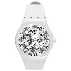 Cloudy Skulls B&w Round Plastic Sport Watch (m) by MoreColorsinLife