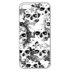 Cloudy Skulls B&w Apple Seamless Iphone 5 Case (clear) by MoreColorsinLife