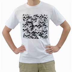 Cloudy Skulls B&w Men s T Shirt (white)  by MoreColorsinLife