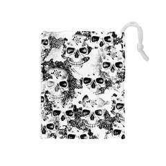 Cloudy Skulls B&w Drawstring Pouches (medium)  by MoreColorsinLife