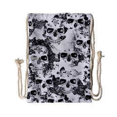 Cloudy Skulls B&w Drawstring Bag (small) by MoreColorsinLife