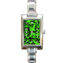 Cloudy Skulls Black Green Rectangle Italian Charm Watch by MoreColorsinLife