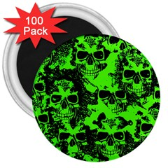 Cloudy Skulls Black Green 3  Magnets (100 Pack) by MoreColorsinLife