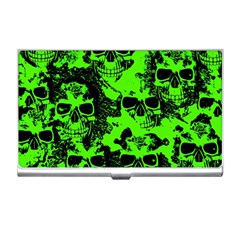 Cloudy Skulls Black Green Business Card Holders by MoreColorsinLife
