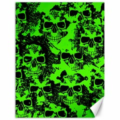 Cloudy Skulls Black Green Canvas 12  X 16   by MoreColorsinLife