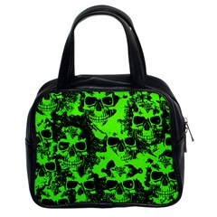 Cloudy Skulls Black Green Classic Handbags (2 Sides) by MoreColorsinLife